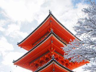 雪の清水寺 三重塔
